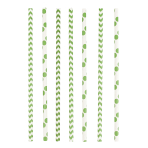 24 Drinking Straws Dots & Chevron Kiwi Paper 19.5 cm