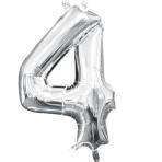 MiniShape Number 4 Silver Foil Balloon L16 Packaged 22cm x 35cm