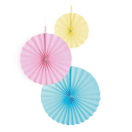 3 Fan Decorations Pastel Rainbow Paper 18 cm / 30 cm / 38 cm