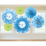 6 Fan Decorations Shower With Love - Boy Paper 20.3 cm / 30.4 cm / 40.6 cm