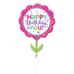 SuperShape Pink & Teal Birthday Foil Balloon P35 Packaged 53x 73 cm