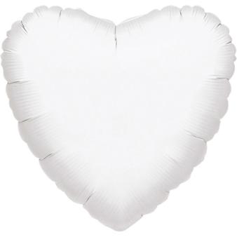"""Standard """"Metallic White"""" Foil Balloon Heart, S15, packed, 43cm"""