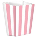 5 Popcorn Boxes Stripes New Pink Paper 6.3 x 13.4 x 3.8 cm
