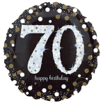 Standard Sparkling Birthday 70 Foil Balloon Round S55 Packaged 43 cm
