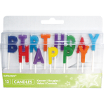 13 Letter Candles Happy Birthday Multicolour Height 6 / 7.7 cm
