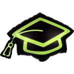 Supershape Neon Grad Cap Foil Balloon P30 packaged