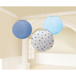3 Lanterns Light Blue / Dark Blue / Dots Paper 24.1 cm
