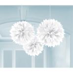 3 Fluffy Decorations White 40.6 cm
