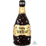 Standard Shape HNY Gold & Black Bubbly Bottle Foil Balloon S50 Packaged 25cm x 66cm