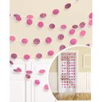 6 String Decorations Glitter Bright Pink Foil 213 cm