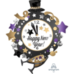 """SuperShape """"HNY Clock"""" Foil Balloon P35 packed 76 x 88cm"""