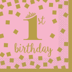 16 Napkins 1st Birthday Pink & Gold 25cm