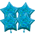 Multi-Pack Iridescent 4 Pack Star Cyan Foil Balloon P41 packaged