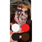 Aqua Kit Zombie (4 x Face Paint 3.5 g / 1 Brush)