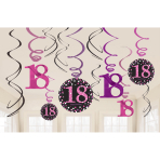 12 Swirl Decorations 18 Sparkling Celebration - Pink Foil / Paper 61 cm