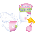 Multi Balloon It's a Girl Stork Foil Balloon P75 Packaged