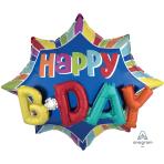 """Multi-Balloon """"Burst Happy Birthday"""" Foil Balloon, P45, packed, 88 x 73cm"""