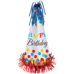 Party Cone Hat Bright Birthday Paper / Foil Height 33 cm