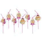 8 Drinking Straws Barbie Popstar 24 cm