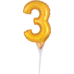 Micro Size Number 3 Gold Foil Balloon A40 Packaged