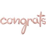 "CI: Phrases Script Congrats Rose Gold Foil Balloon G50 Packaged 56""/142cm w x 28""/71cm h"