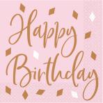 16 Napkins Rose Gold Birthday Happy Birthday 33 x 33 cm