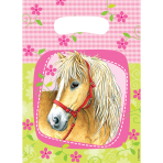 6 Party Bags Charming Horses Plastic 23.4 x 16.2 cm