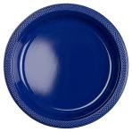 10 Plates Plastic Navy Flag Blue 22.8 cm