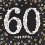 16 Napkins 60 Sparkling Celebration - Silver & Gold 33 x 33 cm