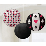 3 Round Paper Lanterns Place Your Bets 24 cm