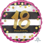 """Standard """"Pink & Gold Milestone 18"""" Foil Balloon Round Holographic, S55, packed, 43cm"""