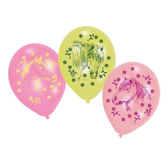 "6 Latex Balloons Charming Horses 22.8 cm / 9"""