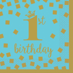 16 Napkins 1st Birthday Blue & Gold 25 x 25 cm