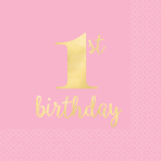 16 Napkins 1st Birthday Pink and Gold Hot Stamped 25cm