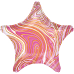 Standard Marblez Pink Star Foil Balloon S18 Packaged