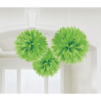 3 Fluffy Decorations Kiwi Green Paper 40.6 cm