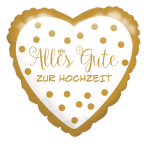 """Standard """"Alles Gute zur Hochzeit, goldene Punkte"""" Foil Balloon Round , S40, packed, 43cm"""