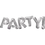 """SuperShape Phrase """"Party"""" Silver Foil Balloon P35 Packaged 83 x 22 cm"""