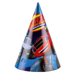 8 Party Cone Hats Blaze Paper Height 16 cm