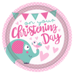 8 Plates Christening Pink Paper Round 22,8 cm
