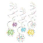 6 Swirl Decorations 60 Confetti Birthday Paper 61 cm