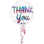 "Standard ""Thank You Silver Dots"" Foil Balloon Round, S40, packed, 43cm"