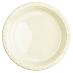 20 Plates Plastic Vanilla Crème 22.8cm