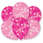 6 Latex Balloons All Round Printed It's a Girl 27.5 cm/11''