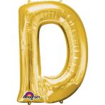 SuperShape Letter D Gold Foil Balloon L34 Packaged 60cm x 83cm