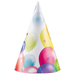 8 Party Cone Hats Balloons Paper Height 16.2 cm