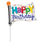 "Mini Shape ""Happy Birthday Flag"" Foil Balloon, A30, airfilled, 25 x 20 cm"