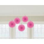 5 Fan Decorations Bright Pink Paper 15.2 cm