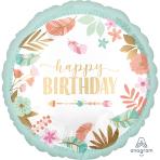Standard BOHO Birthday Girl Satin Foil Balloon S40 packaged