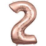 Large Number 2 Rose Gold Foil Balloon N34 Packaged 50 cm x 88 cm